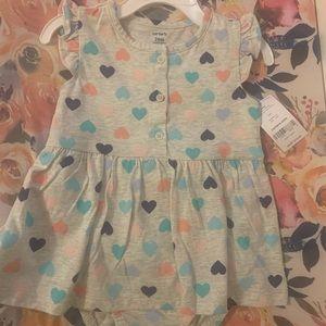 NWT Carters Hearts Onsie Dress 24M
